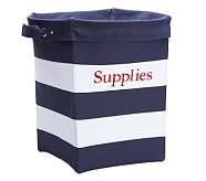 Large Navy/White Striped Canvas Storage