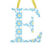 Printed Letter, E, Blue Floral