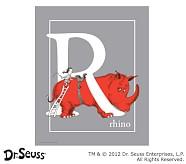 Dr. Seuss™ Alphabet Prints, Letter R, Grey, Rhino