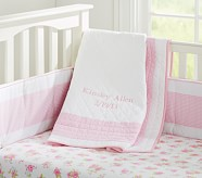 Gingham Nursery Quilt, Light Pink