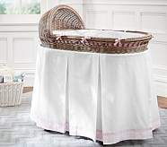 Harper Bassinet Bedding Set, Bumper & Crib Skirt, Light Pink