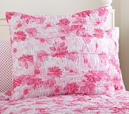 Lillian Floral Euro Quilted Sham, Pink