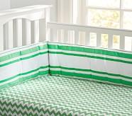 Harper Chevron Stripe Crib Fitted, Bright Green