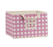Bright Pink Dot Large Canvas Box Storage
