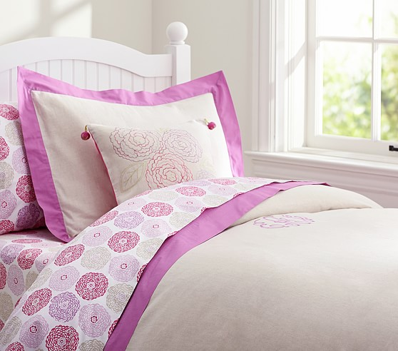Bright Border Linen Duvet Cover, Twin, Lilac