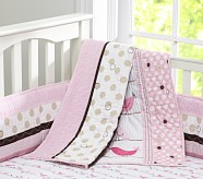 Penelope Toddler Quilt, Pink/Chocolate