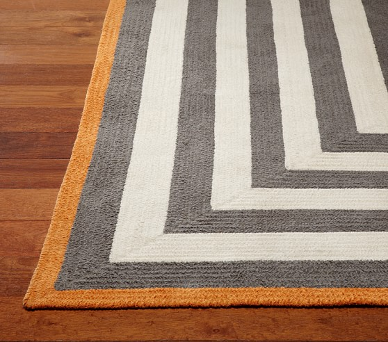 Capel Spiral Rectangle Rug 3x5' Gray and Orange