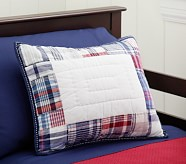 Madras Small Quilted Sham, Red/Navy