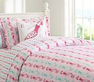 Preppy Mermaid Duvet Cover, Twin, Pink/Turquoise