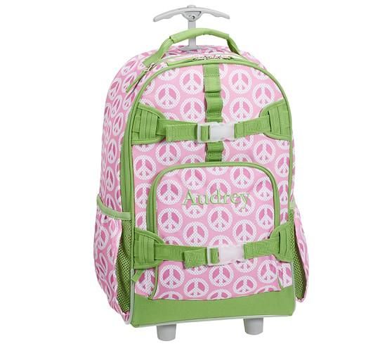 Mackenzie Pink Peace Rolling Backpack