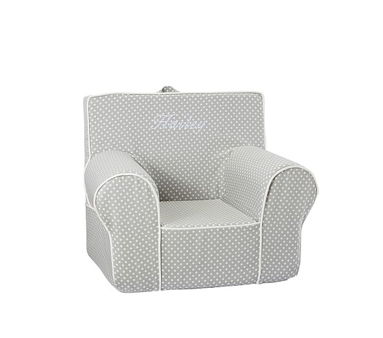 Anywhere Chair® Slipcover Only, Gray Mini Dot With White Piping
