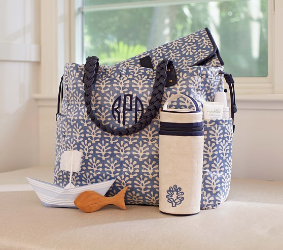 Blue Leaf Larkspur Diaper Bag