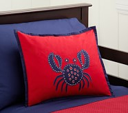 Crab Madras Small Quilted Sham, Red/Navy