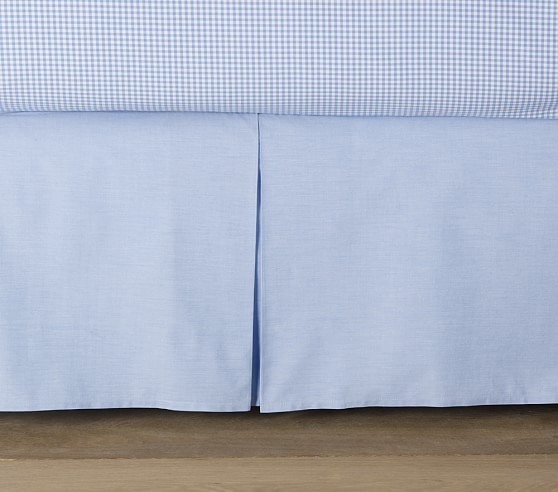 Chambray Pleated Bed Skirt, Twin, Blue