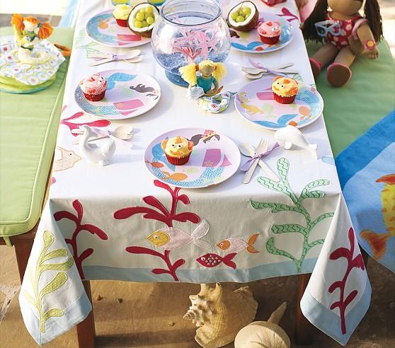 Mermaid Tablecloth, Blue Multi