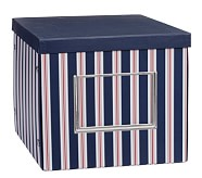 Deep Cube Box, Navy Stripe