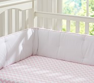 Harper Chevron Nursery Bumper Bedding Set, Crib Skirt, Crib Fitted Sheet & Bumper, Light Pink