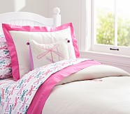 Bright Border Linen Duvet Cover, Twin, Bright Pink