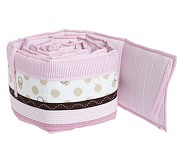 Penelope Crib Bumper, Pink/Chocolate