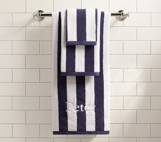 Rugby Stripe Hand Towel, Navy