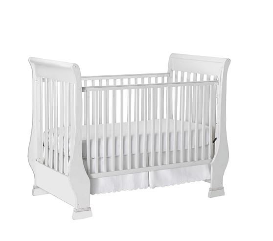 Sleigh Fixed Gate Crib, Simply White