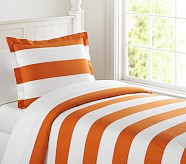 Rugby Stripe Duvet Cover, Twin, Orange