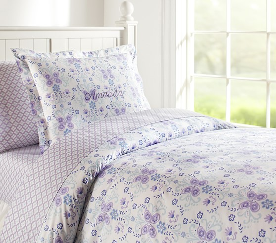 Ivy Damask Duvet Cover, Twin, Blue/Lavender