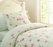 Savannah Floral Duvet Cover, Twin, Green