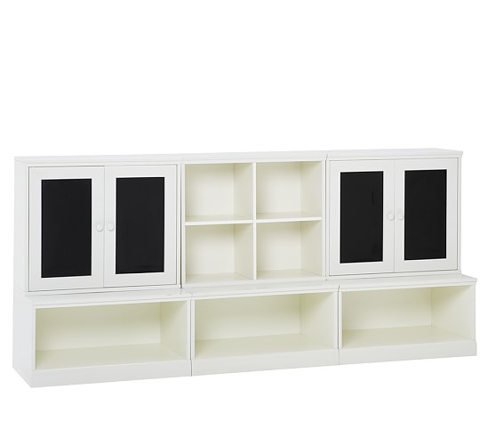 Cameron Creativity Lower Storage Wall with Chalkboard Cabinet, White