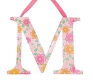 Printed Letter, M, Orange Floral