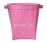 Girls' Large Canvas Buckets, Bright Pink Mini Dot