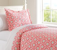 Vivian Duvet Cover, Twin, Coral/Gray