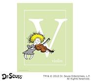 Dr. Seuss™ Alphabet Prints, Letter V, Light Green, Violin