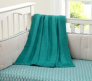 Chunky Cable Knit Baby Blanket, Teal