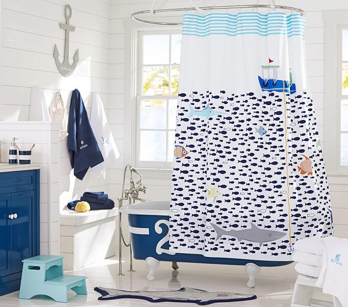 Shower Curtains cool shower curtains for guys : Kids' Bathroom Shower Curtains & Bath Mats   Pottery Barn Kids