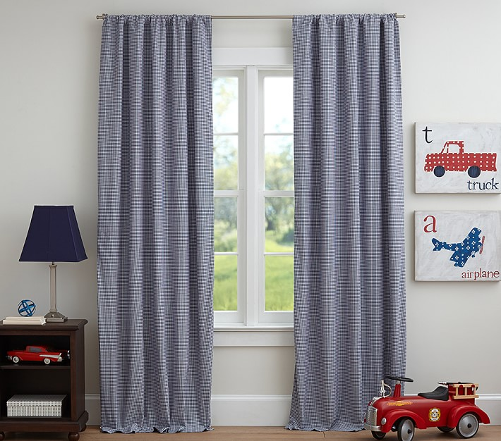 Blackout Curtains blackout curtains navy blue : Gingham Blackout Panel | Pottery Barn Kids