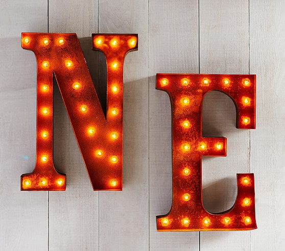 marquee light up letters pottery barn kids