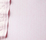 Baby Chevron Sateen Crib Fitted Sheet, Pink